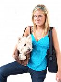 Beautiful blond girl holding a dog on white background poster