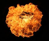 Fire explosion, isolated on black background poster