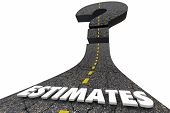 Estimate Road Word Prediction Forecast Question Mark 3d Illustration poster