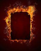 Burning fire frame poster