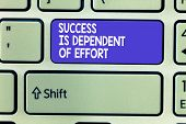 Word writing text Success Is Dependent Of Effort. Business concept for Make effort to Succeed Stay Persistent poster