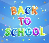 Back to school greeting phrase for school children. Vector poster with cartoon lettering, twirl and stars ticker tape decor for knowledge day 1st September poster
