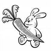The black-and-white rabbit with carrot on a white background. poster