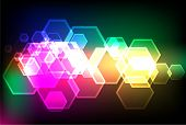 bokeh lights backgrounds with pentagon shapes poster