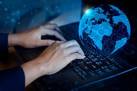 Press Enter Button On The Computer. Business Logistics Communication Network World Map Send Message