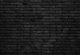 Dark Black Background Texture Of Brick. Close Up