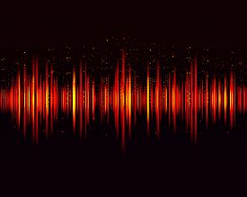 Vector Digital Music Equalizer, Audio Waves Design Template Audio Signal Visualization On Dark Backg