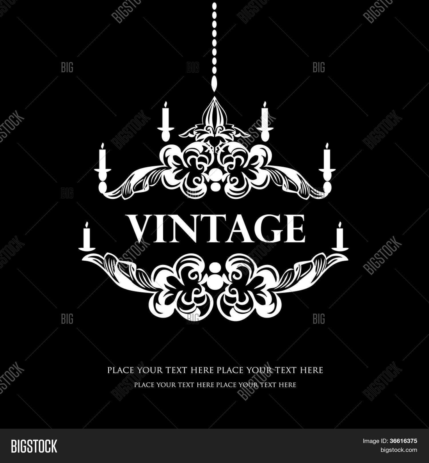 White Chandelier Silhouette Vector &