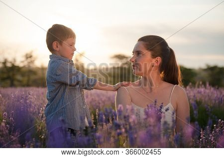 Relationship Issue Concept Cute Little Boy Touch His Hurted Young Mother Asking Forgiveness And Apol