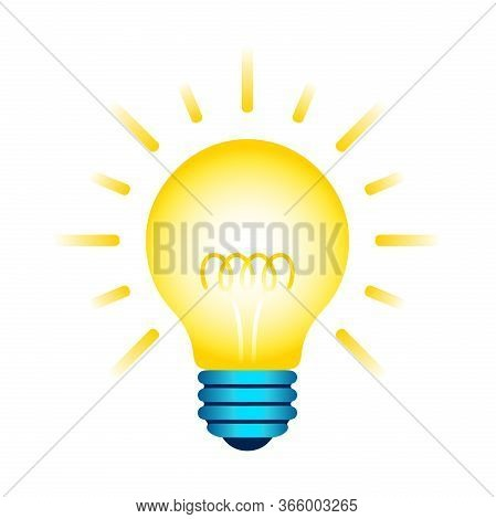 Yellow Light Bulb Icon. Lighting Incandescent Electric Lamp With Spiral And Rays. Vector Graphic Des