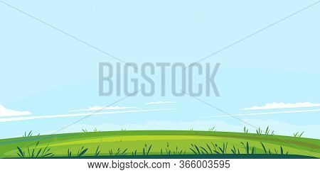 Green Lawn With Grass Against Blue Sky With Small White Clouds, Summer Sunny Glade With Field Grasse