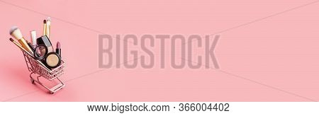 Cosmetic Products On Pink Background. Set Of Luxury Decorative Cosmetics With Copy Space, Flat Lay,