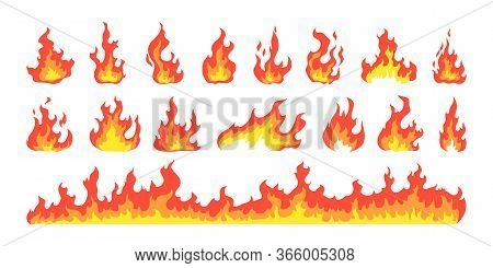 Hot Fire Set. Camping Flame, Fire Hazard, Bright Blaze, Igniting. Vector Illustration For Danger, He