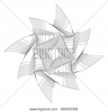 Abstract Black And White Circular Pattern. Geometric Pattern With Visual Distortion Effect. Optical
