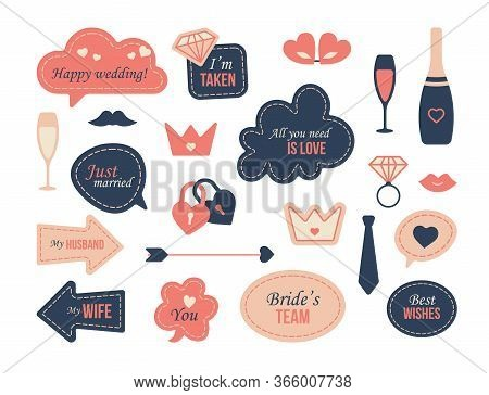 Wedding Photo Decoration Set. Prop, Flutes, Bubbles, Tags And Frames With Bride Team Or Just Married