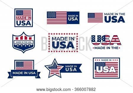 Made In Usa Badges Set. American Patriotic Logos, Stamps And Seals With National Flags. Vector Illus