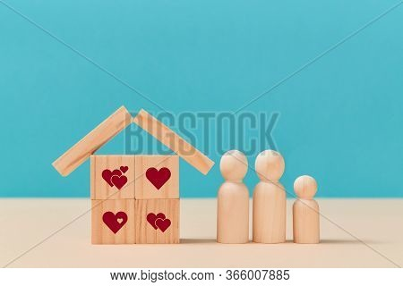 Online Dating. Virtual Love. Creating Family. Love Relationship. House Of Wooden Cubes With Heart Si