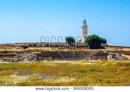 Lighthouse In Archaeological Park In Paphos, Cyprus