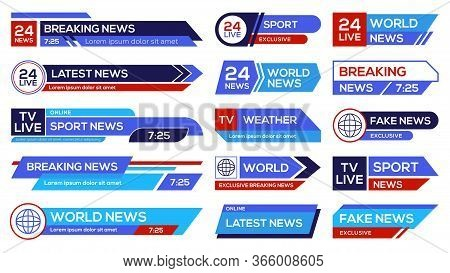 News Broadcast Emblems Set. Headers On Lower Banners, Channels Emblems With Sport, World, Latest, Br