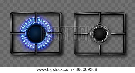 Gas Burner With Blue Flame And Black Steel Grate. Kitchen Stove With Lit And Off Hob. Vector Realist