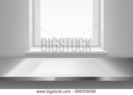 Steel Table Surface Top View Front Of Window With Sun Light On White Wall Background. Kitchen Or Caf
