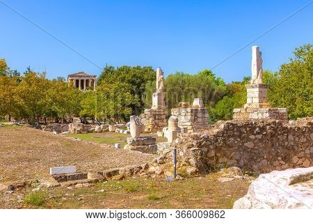 Athens, Greece Landmark Odeon Of Agrippa Statues In The Ancient Agora Panoramic View
