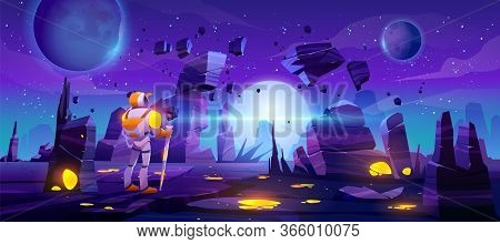Astronaut On Alien Planet In Far Galaxy. Cosmonaut In Suit And Helmet Explore Outer Space. Vector Ca