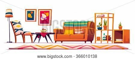 Boho, Bohemian Living Room Interior, Wooden Furniture, Couch, Shelf With Plants, Rag With Geometric