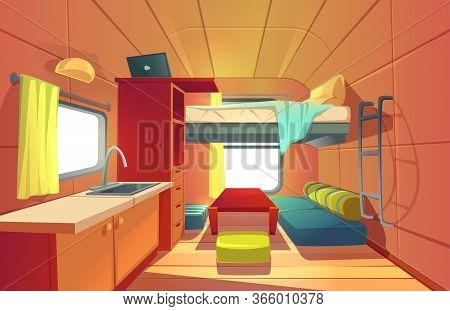 Camping Trailer Car Interior With Loft Bed, Couch, Kitchen Sink, Desk With Laptop, Bookshelf And Win