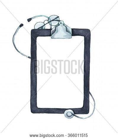 Flat Lay Of Stethoscope And Writing Pad Paper Clip Board With Copy Space, Healthcare And Medical Con