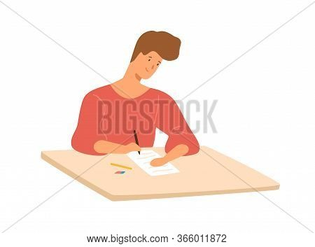 Smiling Male Student Sitting At Desk Writing School Test Vector Flat Illustration. Colorful Happy Gu