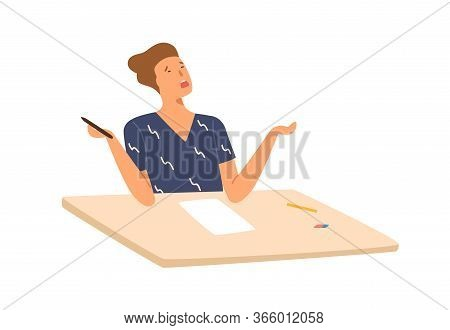 Stressed Student Boy Writing Exam Test Dont Know Answers Vector Flat Illustration. Male Pupil Sittin