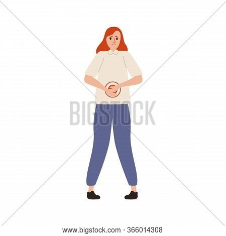 Suffer Woman With Painful Expression Having Abdominal Ache Vector Flat Illustration. Unhappy Female