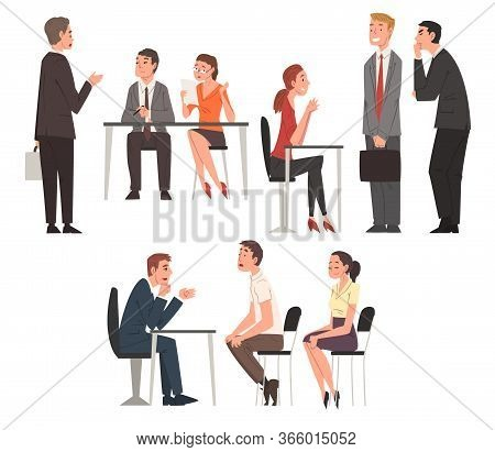 People Having Job Interview With Hr Specialists Set, Recruitment And Employment Service Process, Cho