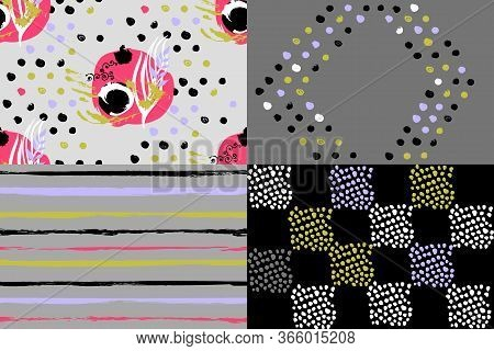 4 Geometric Seamless Patterns On A Gray Background, Used Five And Six Colors, Restrained Gamma, Unev
