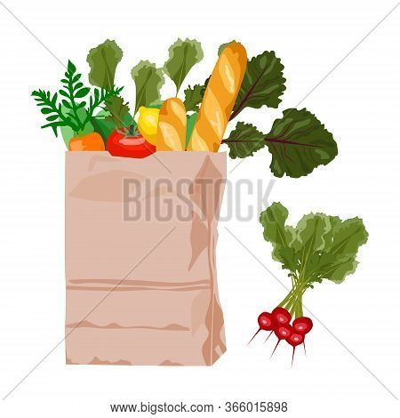 Paper Bag With Fresh Products Such As Fruits, Vegetables, Baguette, Bread. Vector. Grocery Shop Prod