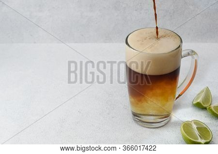 Coffee Tonic With Sliced Lime An Espresso With Tonic Water. Refreshing Menu In Coffee Shop. Copy Spa