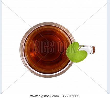 Tea Centella Asiatica, Asiatic Pennywort Hot Tea In A Glass On White Background And Got Centella Asi