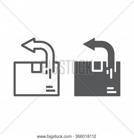 Return Shipping Line And Glyph Icon, Logistic And Delivery, Package Box Return Sign Vector Graphics,