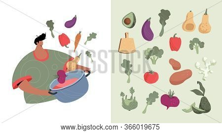 Vegetables Set Trendy  Illustration. Greenery Pack With Modern Man Character With Saucepan In Hand.
