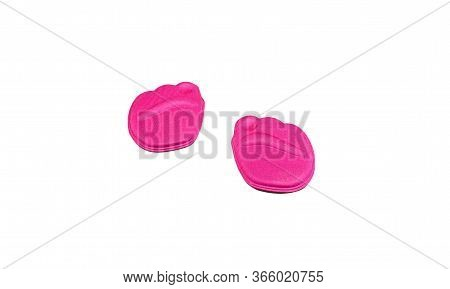 Soft Pink Orthopedic Insert For The Forefoot Under Fingers In Shoes Isolated On A White Background.
