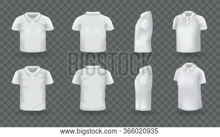 Realistic Polo Shirt Men Women Set. White Blank Classic Polo T-shirt Mock Up Isolated On Transparent