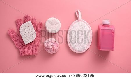 Washcloth, Sponge, Gel, Soap, Salt On Pink Background, Bath And Spa Day Concept, Top View, Flat Lay,
