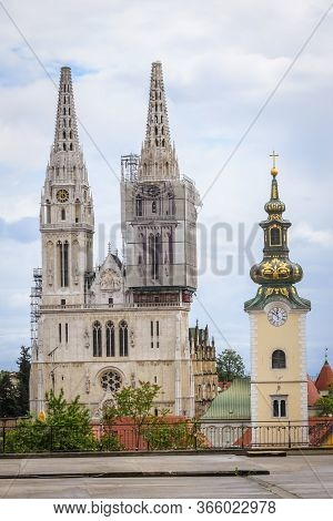 Zagreb, Croatia - 15 April, 2020 : View From Upper Town On The Zagreb Cathedral Without Both Crosses
