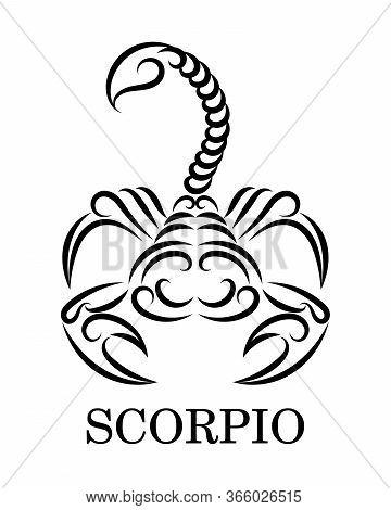 Black Line Vector Logo Of A Scorpion. It Is Sign Of Scorpio Zodiac.