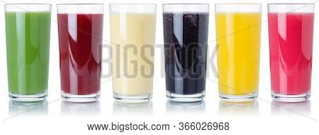 Group Of Fruit Smoothies Fruits Orange Juice Drink In Glass Isolated On White