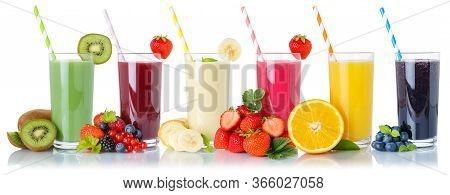 Set Of Fruit Smoothies Fruits Orange Juice Drink Straw In Glass Isolated On White