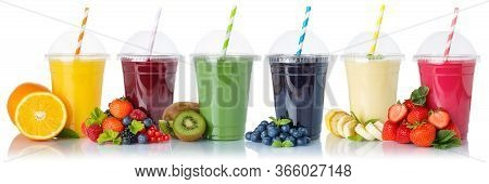 Set Of Fruit Smoothies Fruits Orange Juice Drink Straw In A Cup Isolated On White