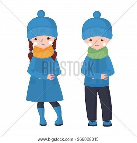 Frostbite Girl And Boy In Cartoon Style Isolated On White Background.