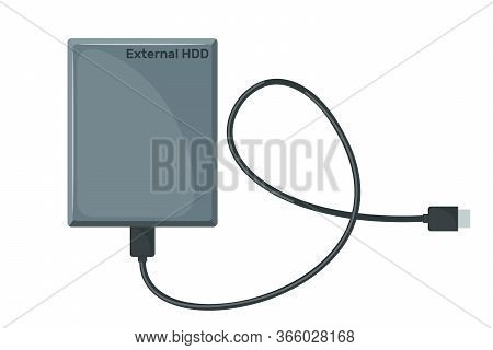 External Hard Drive Disk Icon In Flat Style Isolated On White Background.